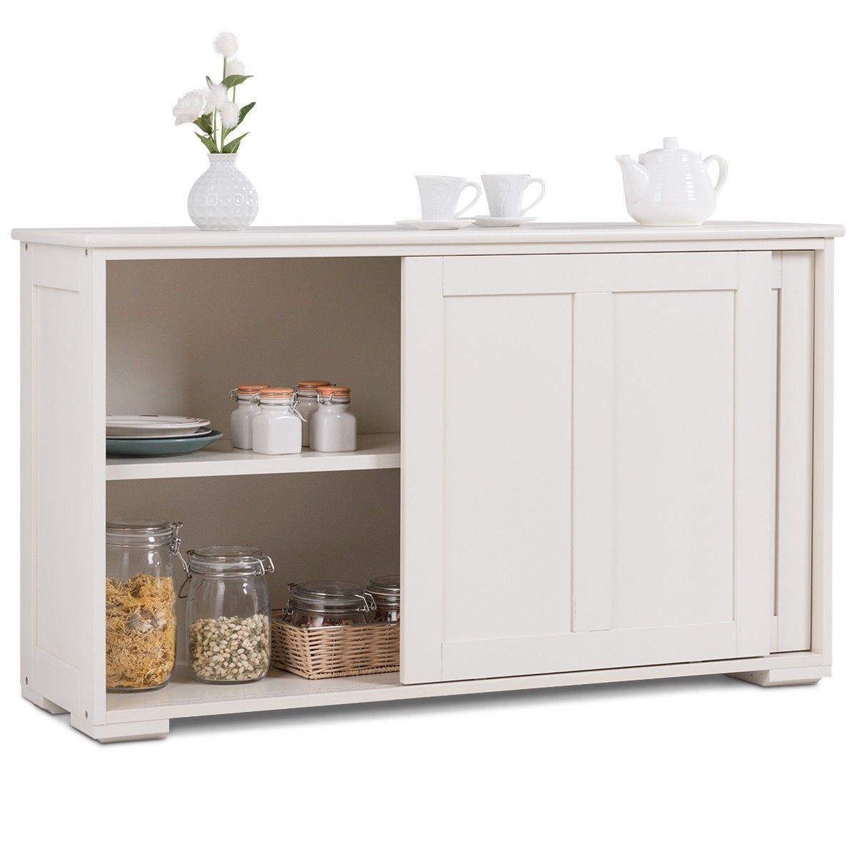 Costway Kitchen Storage Cabinet Sideboard Buffet Cupboard Wood Sliding Door Pantry Throughout Contemporary Style Wooden Buffets With Two Side Door Storage Cabinets (View 6 of 30)