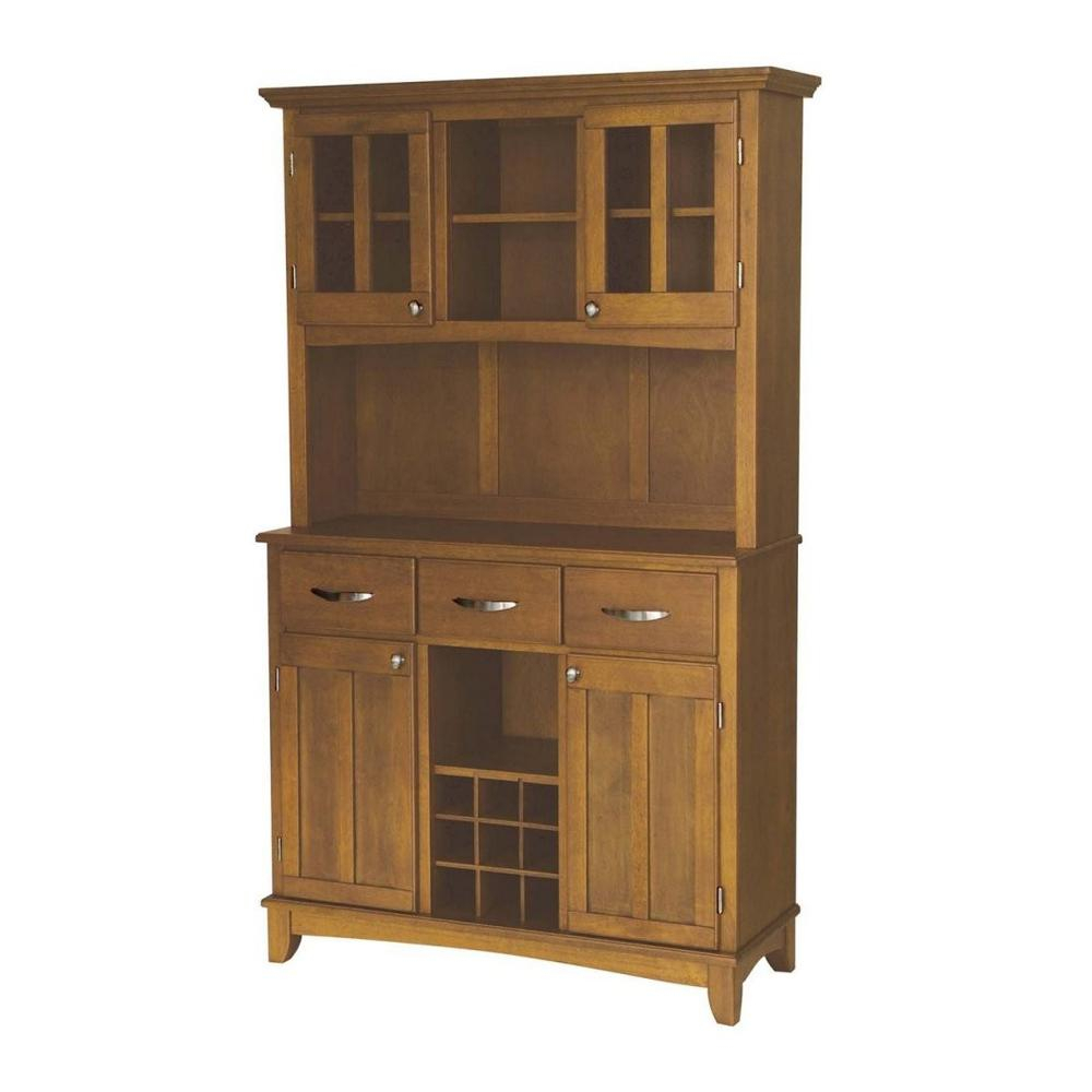 Cottage Oak Buffet With Hutch Throughout Wooden Buffets With Two Side Door Storage Cabinets And Stemware Rack (View 5 of 30)