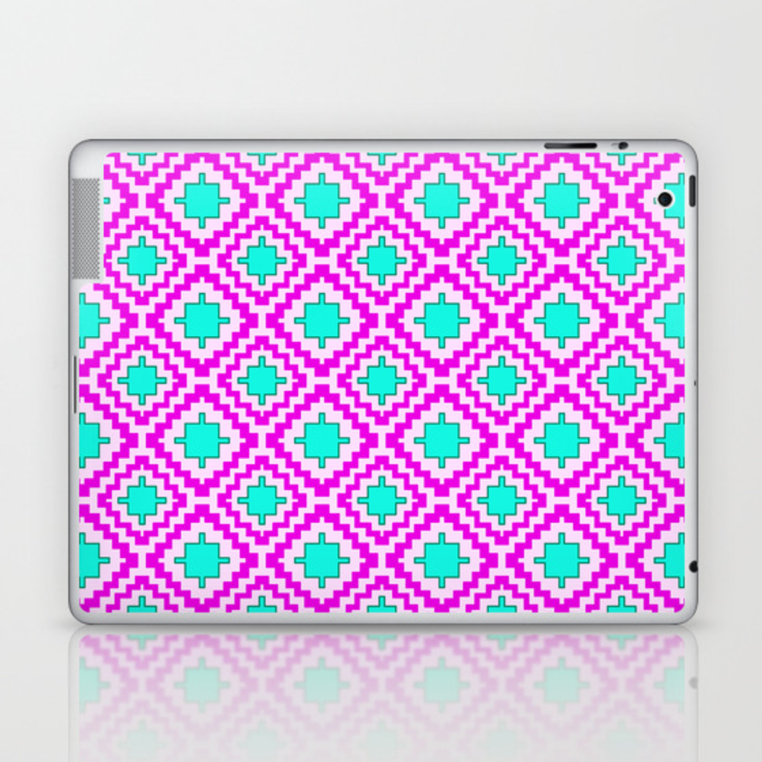 Cowgirl Pink And Turquoise Navajo Native Inspired Oklahoma Arizona Southwestern Design Pattern Laptop & Ipad Skindpartgallery With Regard To Southwest Pink Credenzas (View 5 of 30)