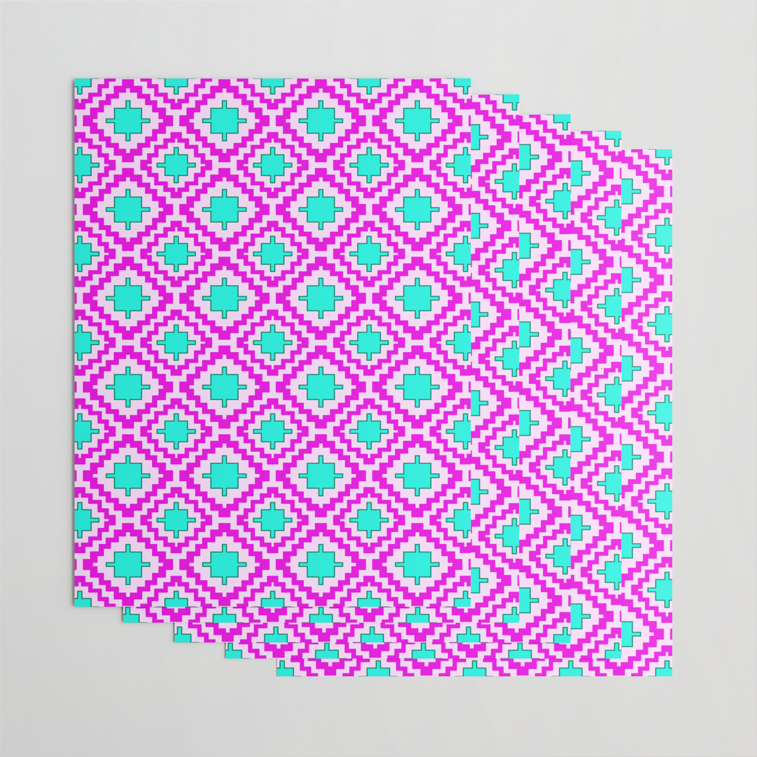 Cowgirl Pink And Turquoise Navajo Native Inspired Oklahoma Arizona Southwestern Design Pattern Wrapping Paperdpartgallery In Southwest Pink Credenzas (View 6 of 30)