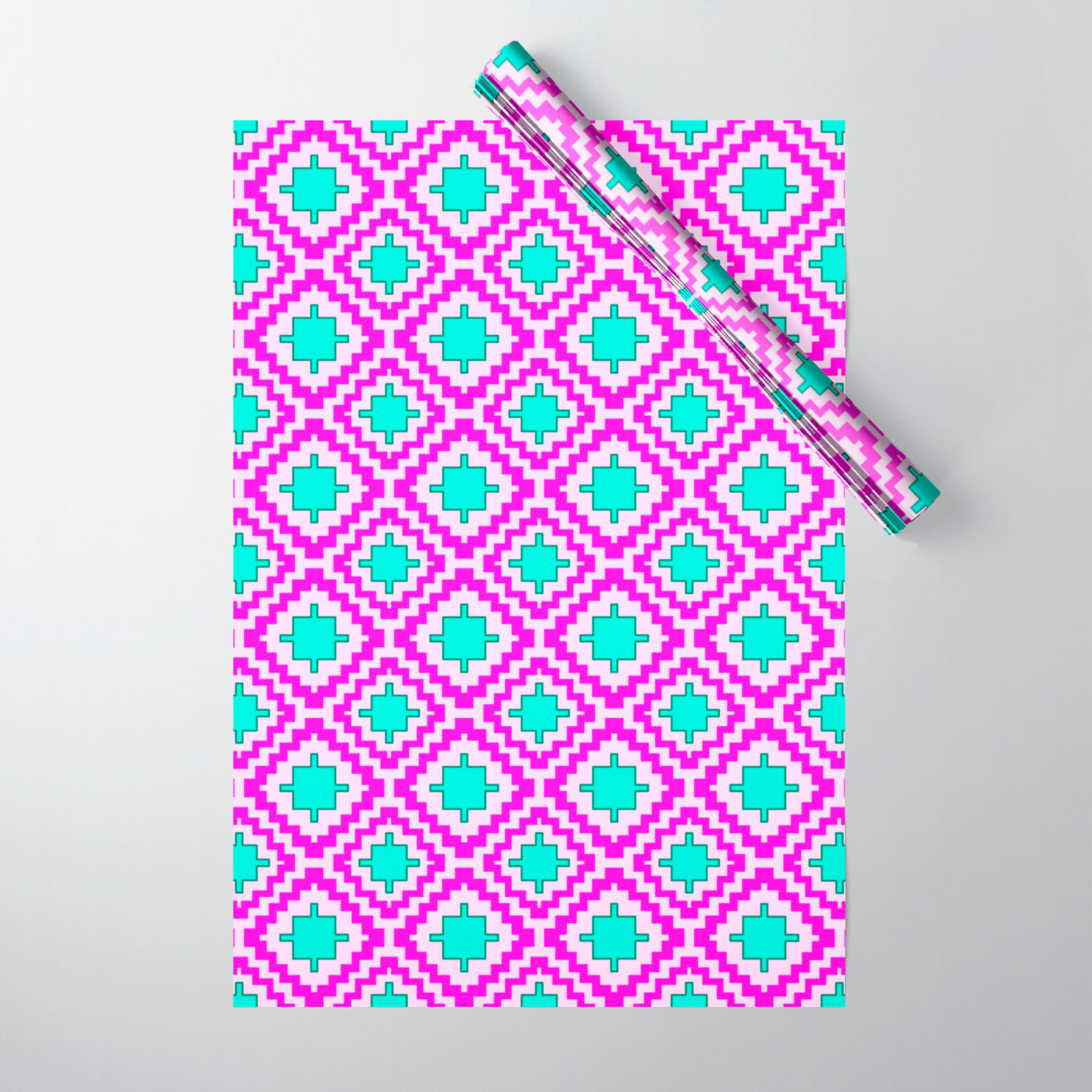 Cowgirl Pink And Turquoise Navajo Native Inspired Oklahoma Arizona Southwestern Design Pattern Wrapping Paperdpartgallery Regarding Southwest Pink Credenzas (View 7 of 30)