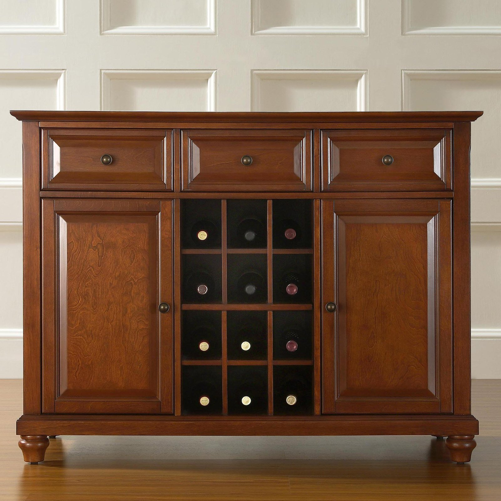 Crosley Furniture Cambridge Buffet Server And Sideboard Cabinet With Wine Storage Pertaining To Wooden Buffets With Two Side Door Storage Cabinets And Stemware Rack (View 15 of 30)