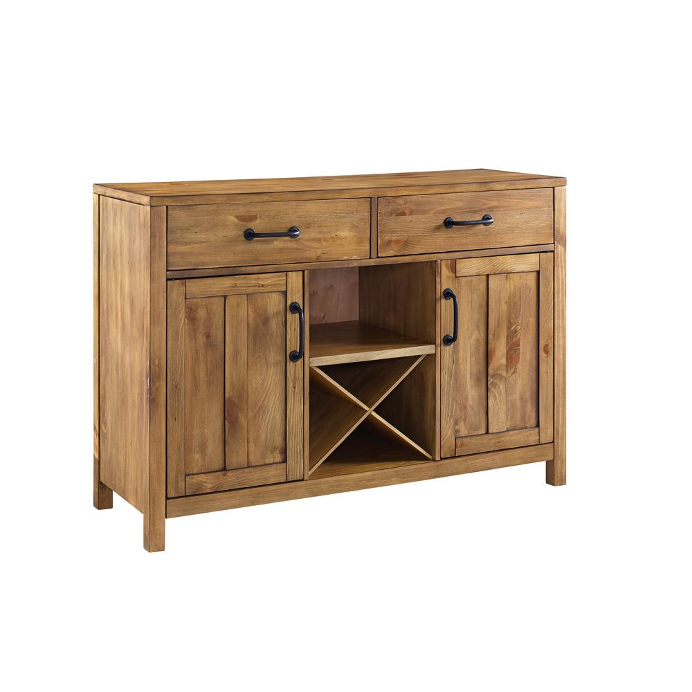 Crosley Roots Natural Buffet Cf4202-Na - The Home Depot pertaining to Modern Natural Oak Dining Buffets (Image 16 of 30)