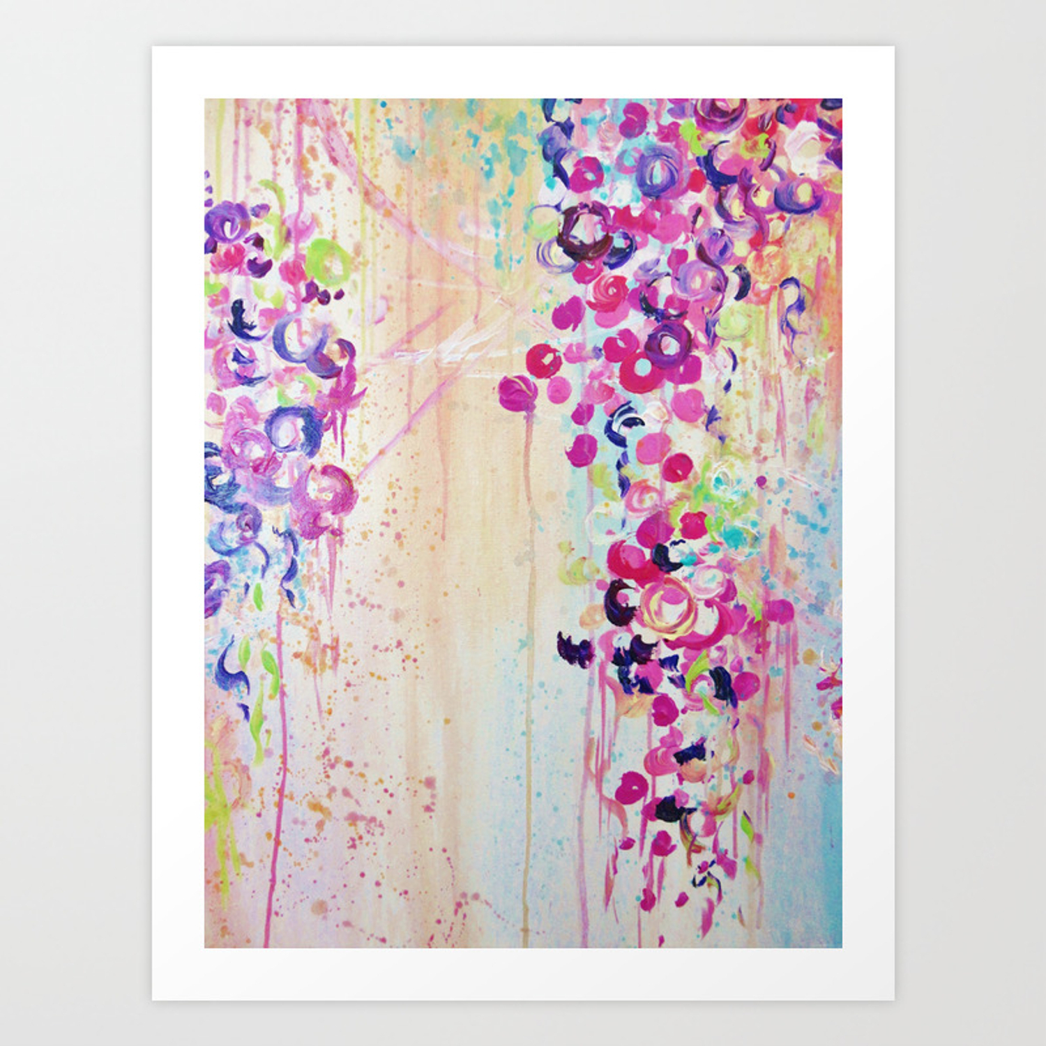 Dance Of The Sakura   Lovely Floral Abstract Japanese Cherry Blossoms  Painting, Feminine Peach Blue Art Print With Regard To Lovely Floral Credenzas (Photo 21 of 30)