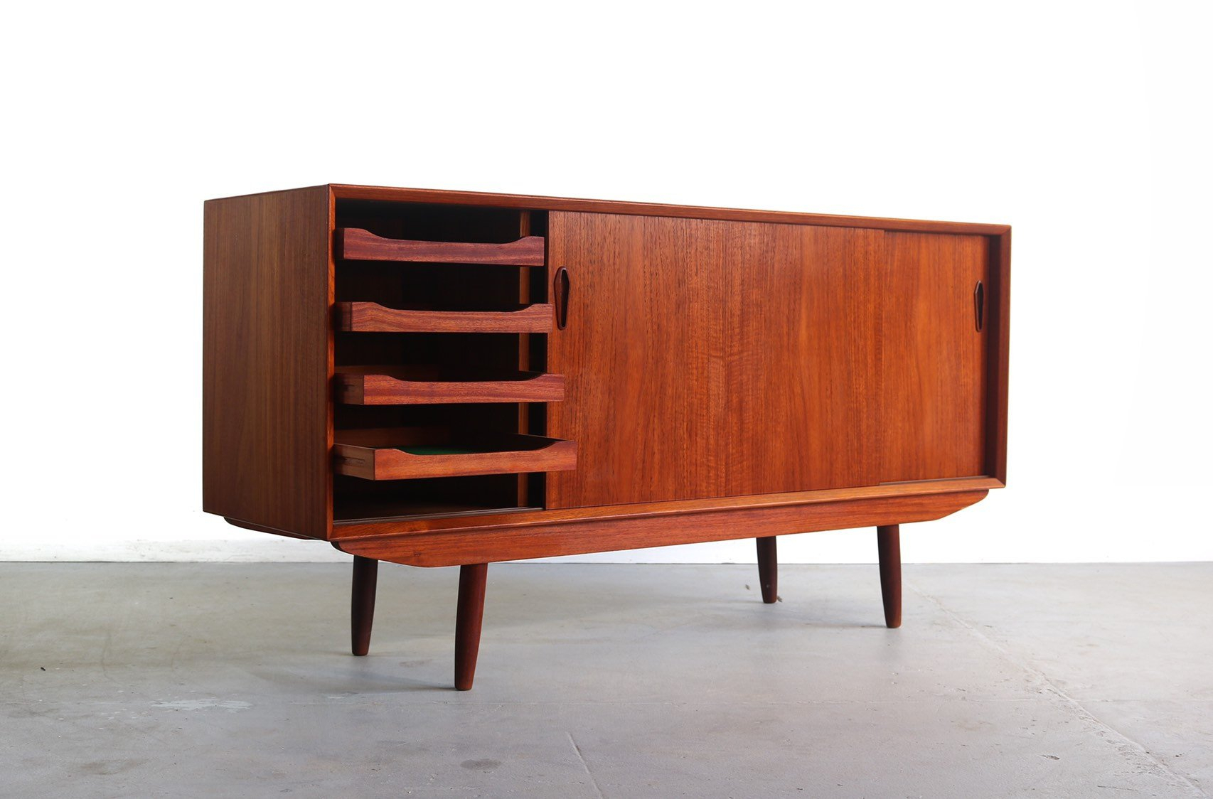 Danish Modern Buffet / Credenza In Teak, Denmark With Regard To Modern Red Buffets (Gallery 11 of 30)