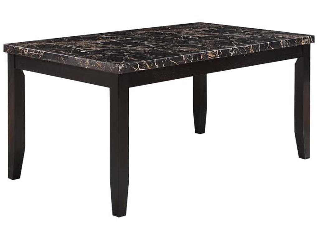 Dark Cappuccino Finish Dining Table With Black Faux Stone With Cappuccino Finished Buffets (View 9 of 30)