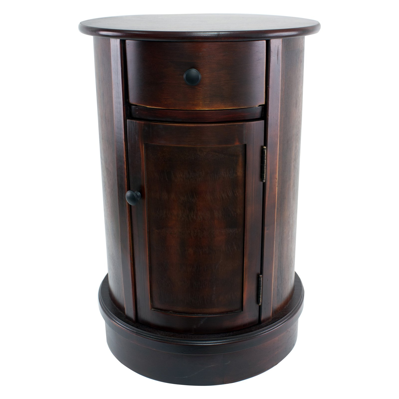 Decor Therapy Round Side Table With 1 Door And Drawer In Throughout Drummond 3 Drawer Sideboards (Photo 23 of 30)