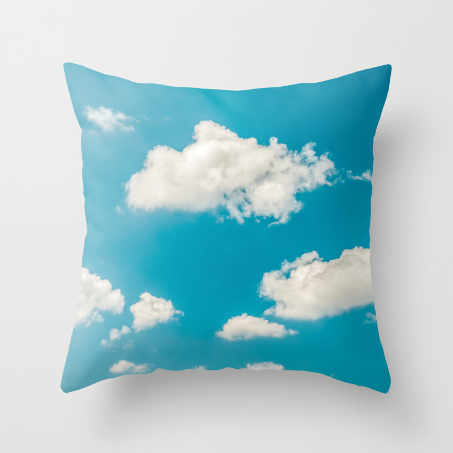 Deep Blue Summer Sky, White Clouds On Turquoise Sky, Heaven Scenery, Wall Art, Poster Decor Throw Pillow With Turquoise Skies Credenzas (Gallery 25 of 30)