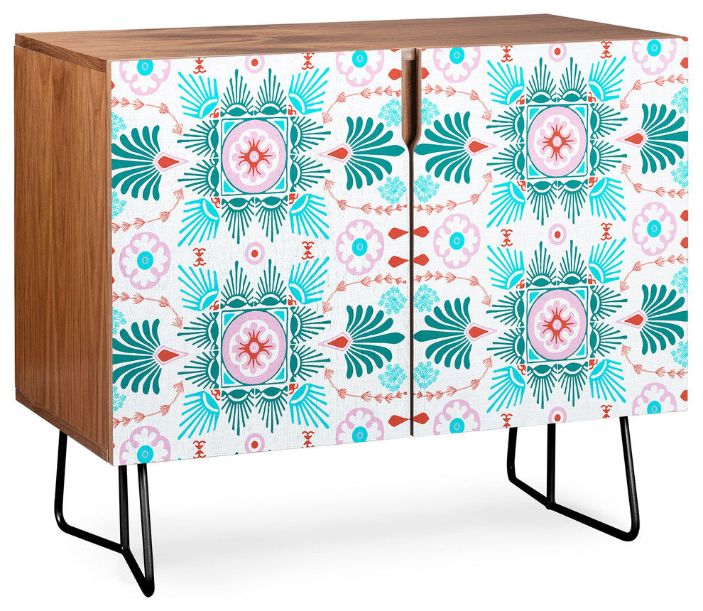 Deny Designs Alaouite Spring Flourish Credenza, Walnut, Black Steel Legs For Pale Pink Bulbs Credenzas (Gallery 22 of 30)