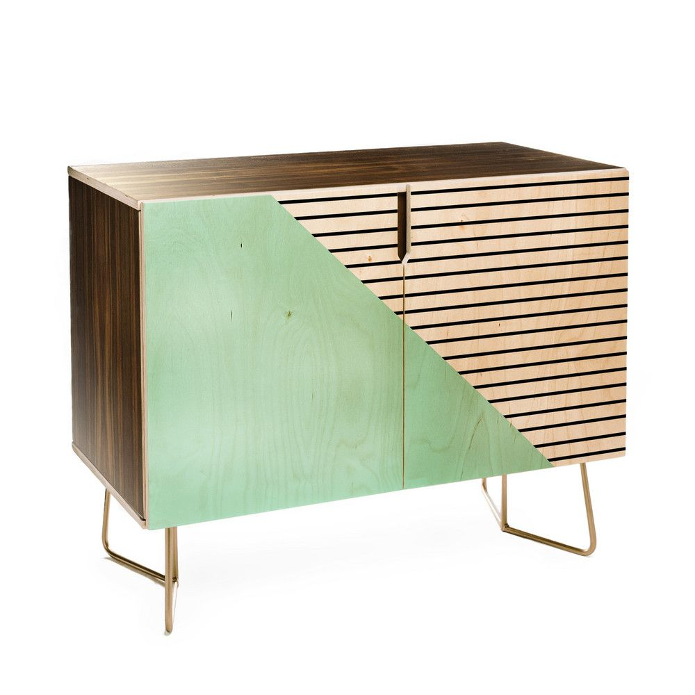 Deny Designs Allyson Johnson Mint And Stripes Credenza With Regard To Strokes And Waves Credenzas (Photo 2 of 30)