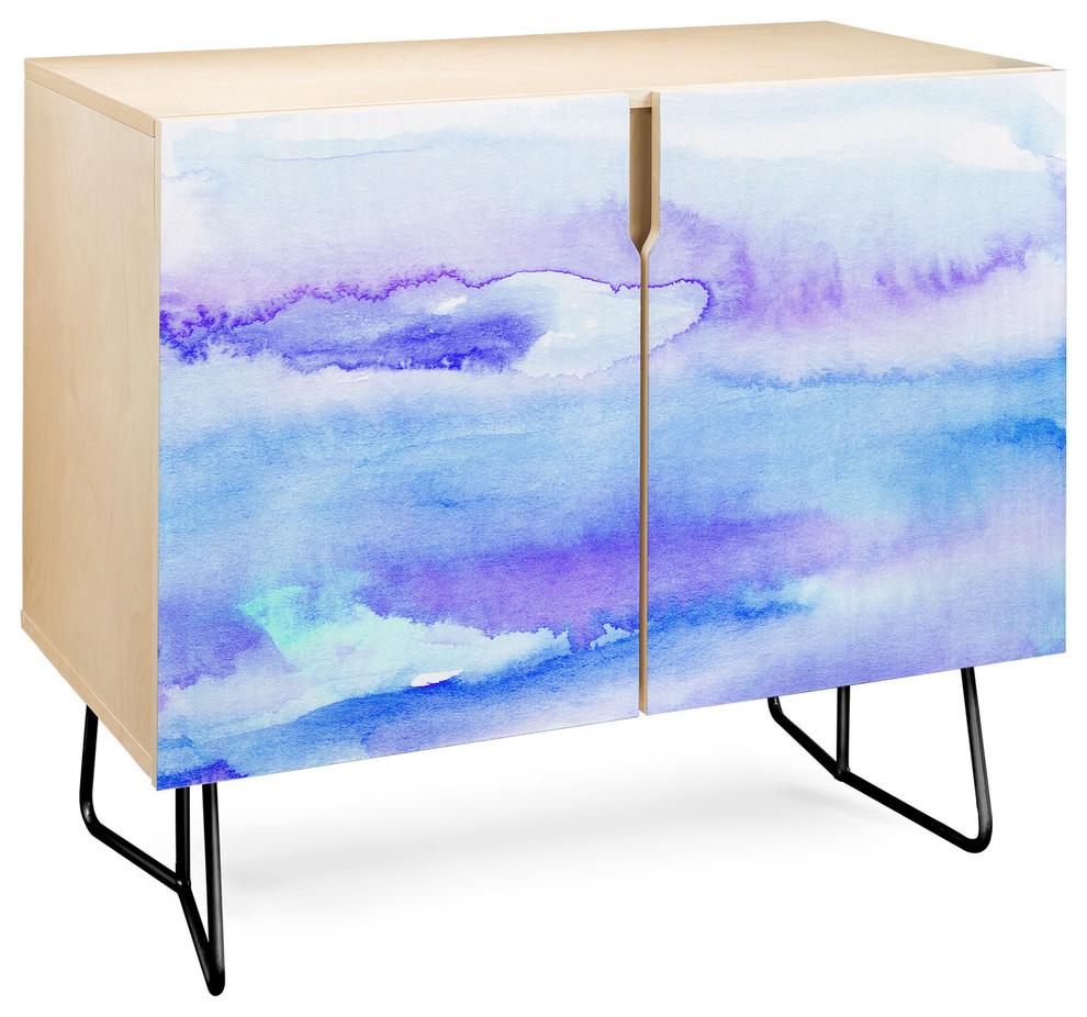 Deny Designs Blue And Purple Abstract Credenza, Birch, Black Steel Legs Throughout Bluetrellis Credenzas (Gallery 14 of 30)