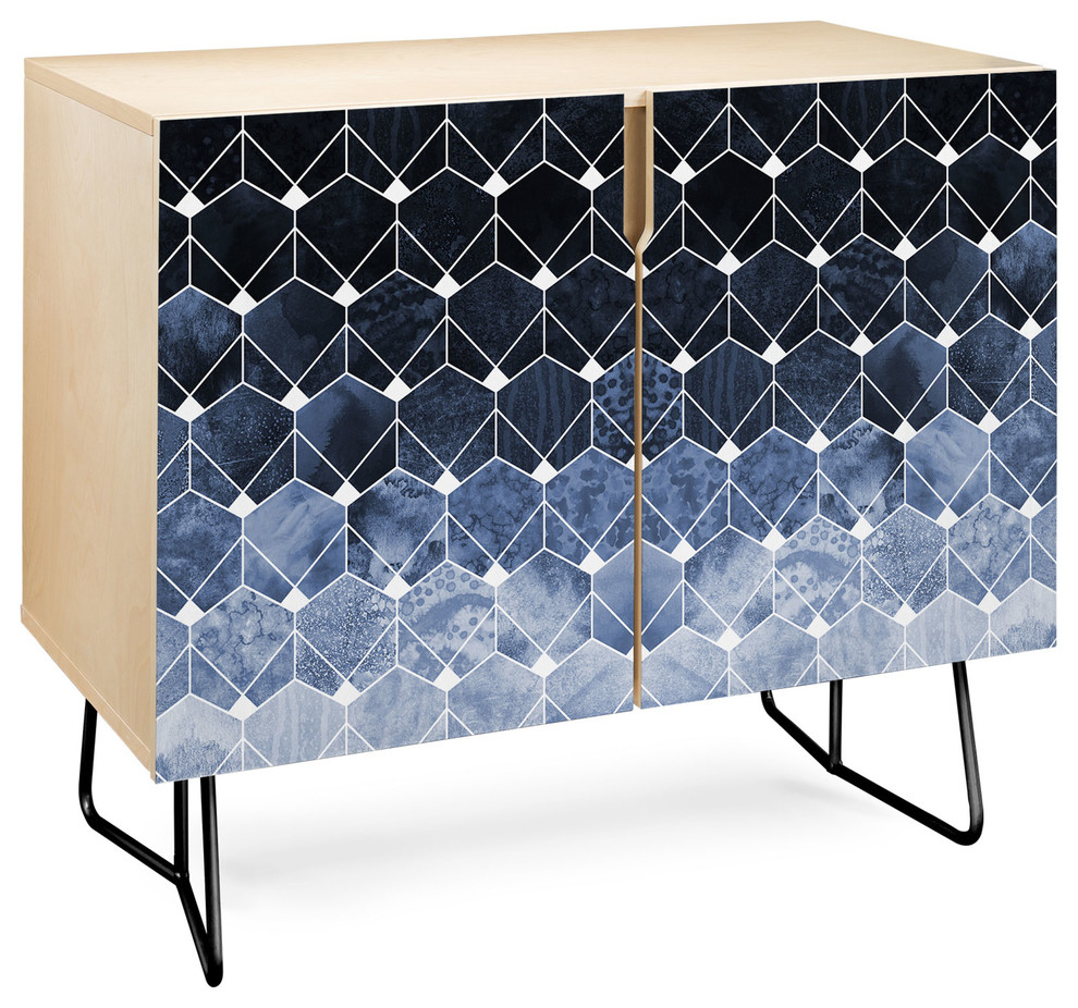 Deny Designs Blue Hexagons And Diamonds Credenza, Birch, Black Steel Legs Intended For Bluetrellis Credenzas (View 9 of 30)