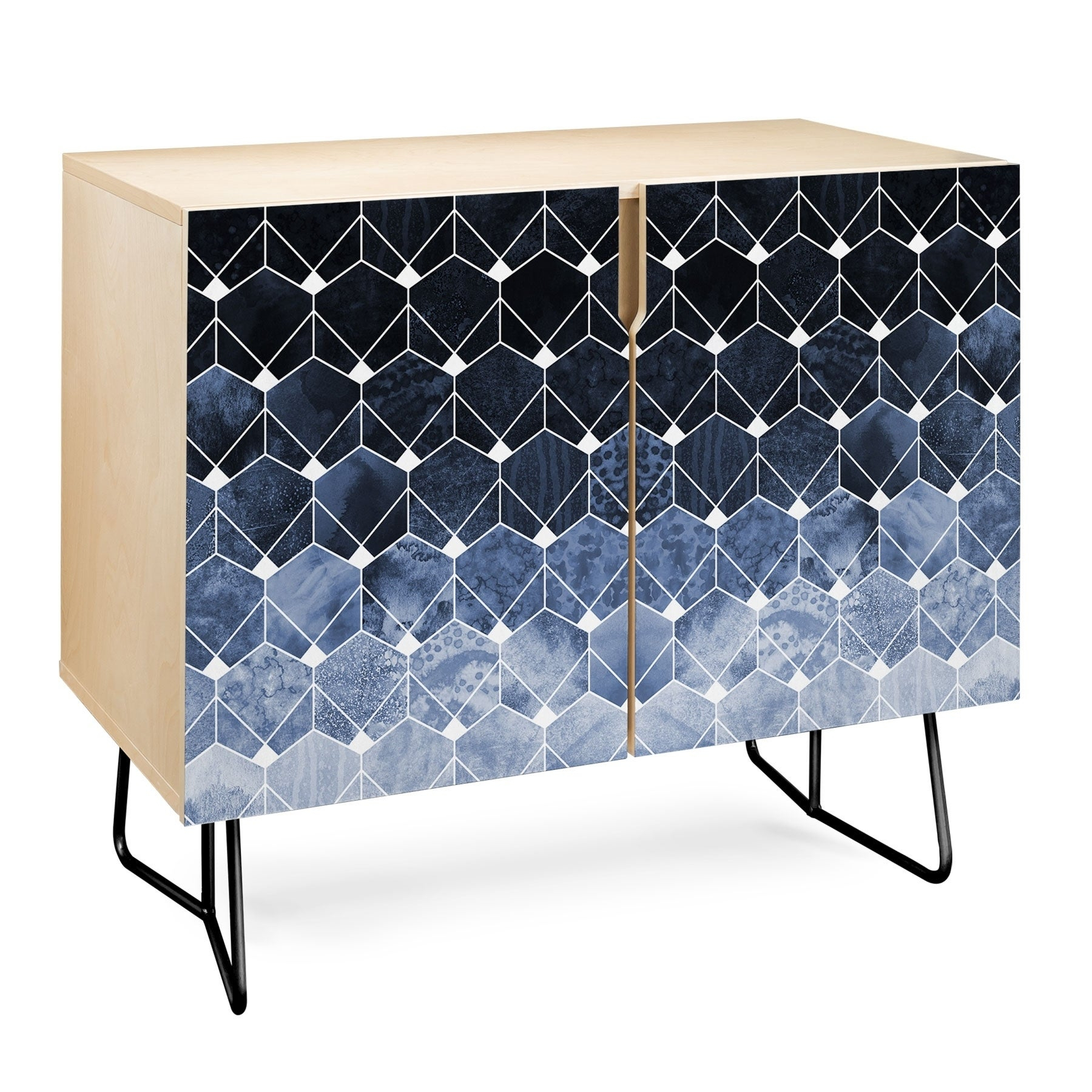 Deny Designs Blue Hexagons And Diamonds Credenza (Birch Or Walnut, 2 Leg  Options) intended for Line Geo Credenzas (Image 5 of 30)
