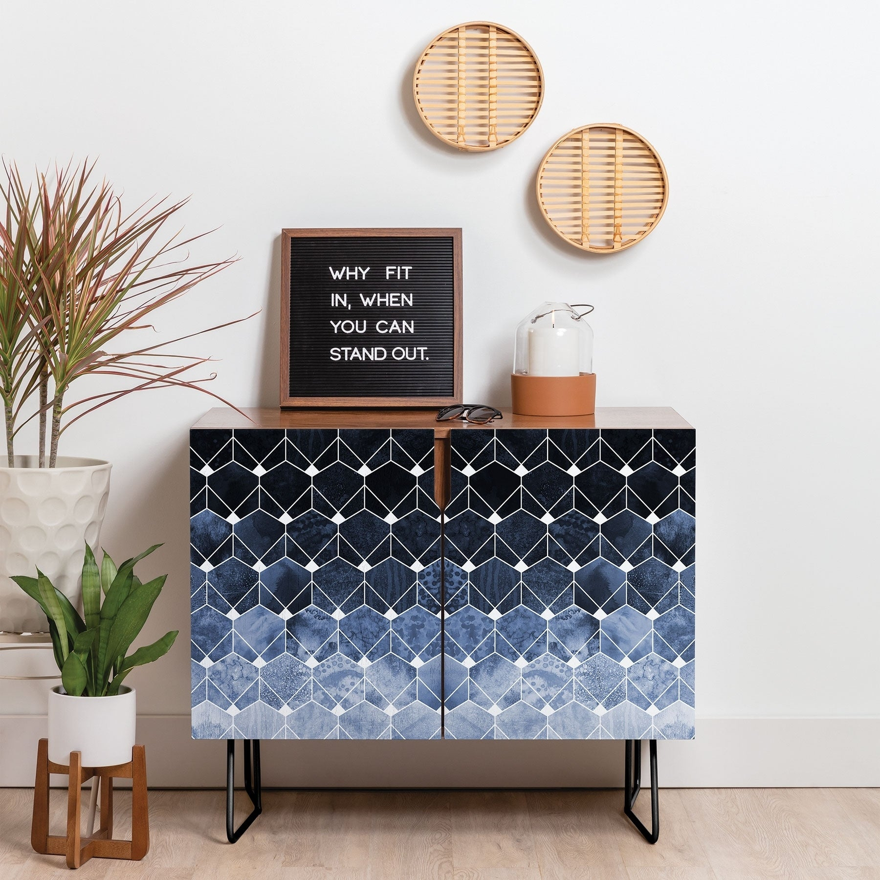 Deny Designs Blue Hexagons And Diamonds Credenza (Birch Or Walnut, 2 Leg Options) Pertaining To Line Geo Credenzas (Gallery 7 of 30)