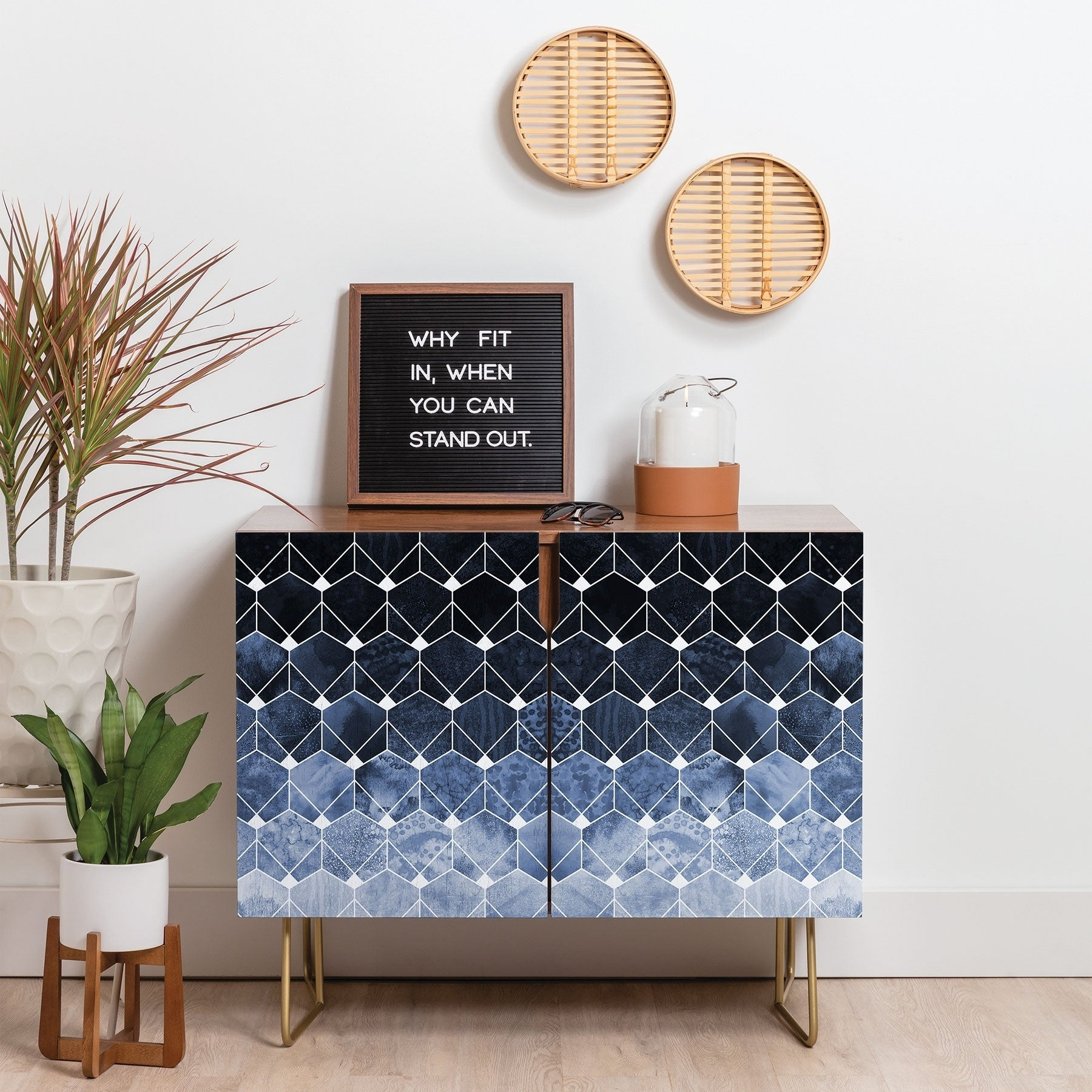 Deny Designs Blue Hexagons And Diamonds Credenza (Birch Or Walnut, 2 Leg  Options) Throughout Exagonal Geometry Credenzas (Photo 9 of 30)