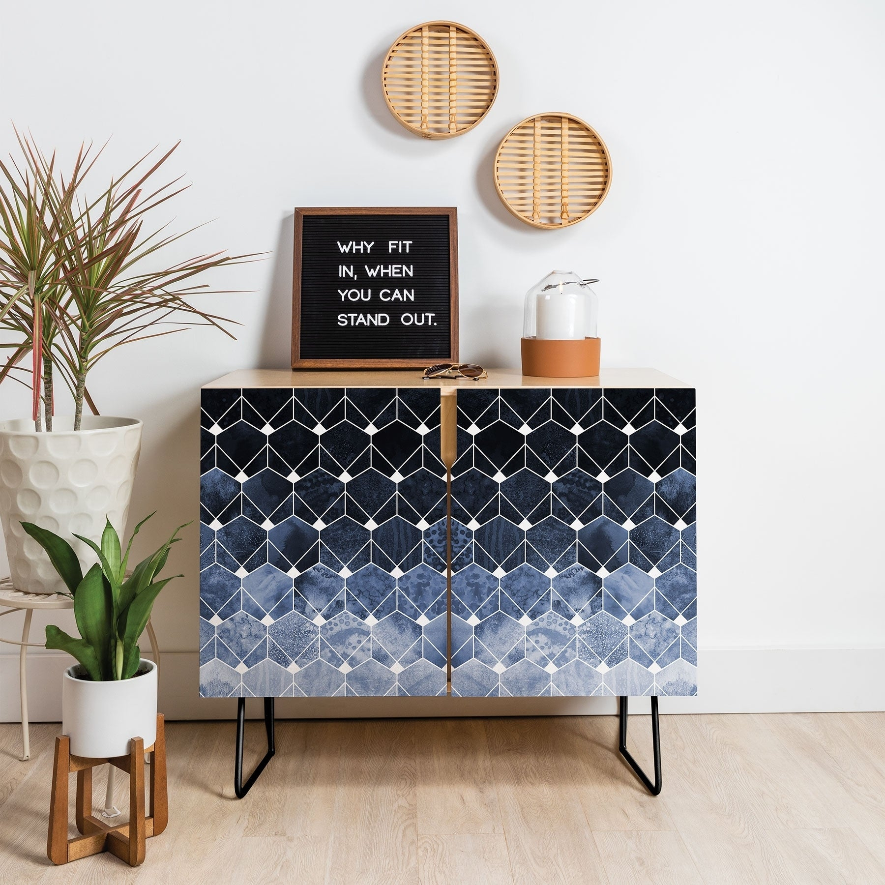 Deny Designs Blue Hexagons And Diamonds Credenza (Birch Or Walnut, 2 Leg  Options) within Line Geo Credenzas (Image 7 of 30)