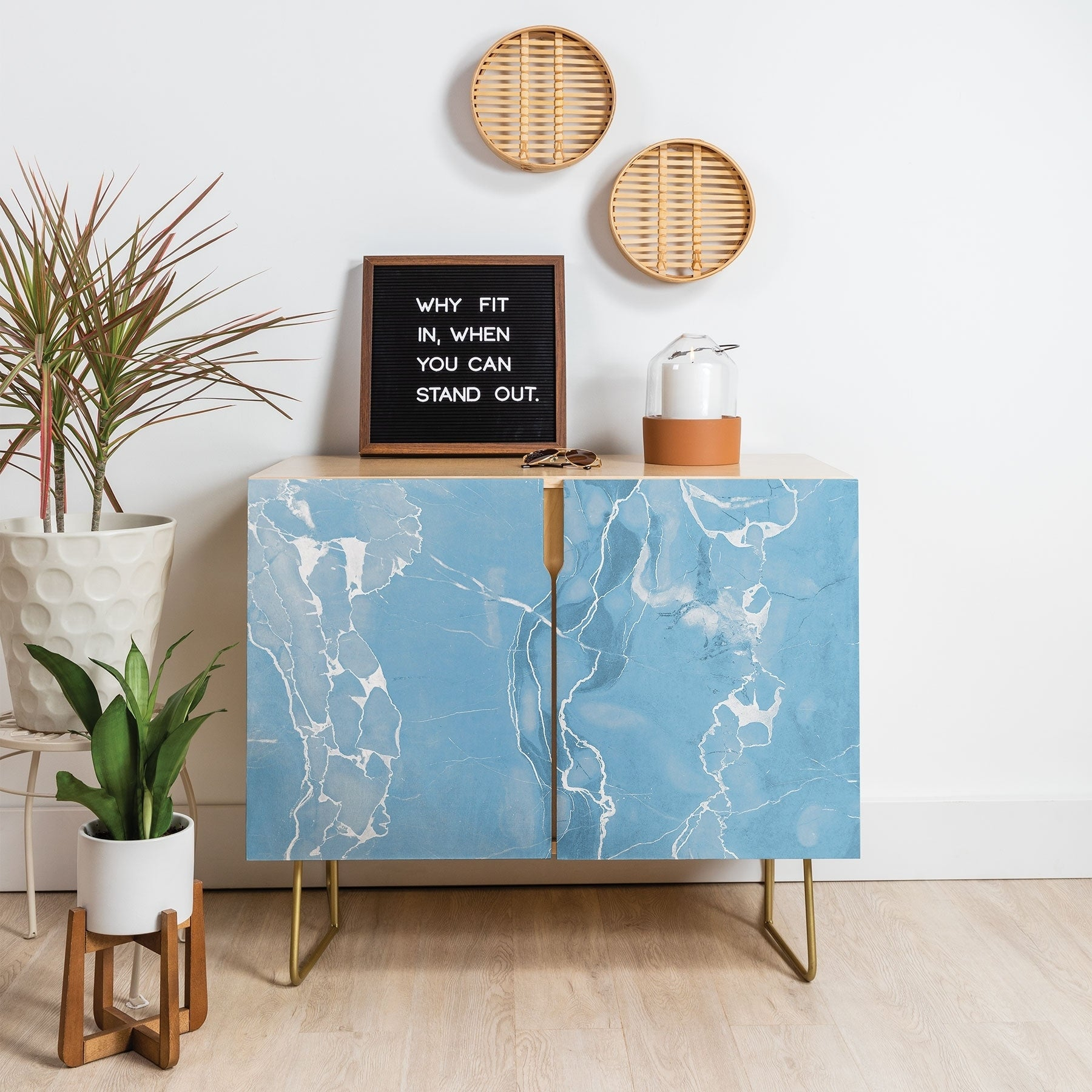 Deny Designs Blue Sky Marble Credenza (birch Or Walnut, 2 Leg Options) In Ocean Marble Credenzas (View 10 of 30)