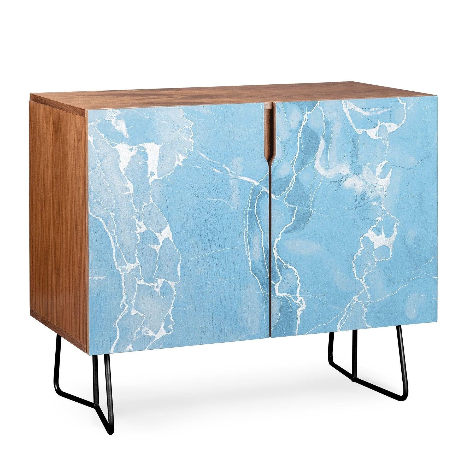 Deny Designs Blue Sky Marble Credenza (Birch Or Walnut, 2 Leg Options) Intended For Ocean Marble Credenzas (Gallery 3 of 30)