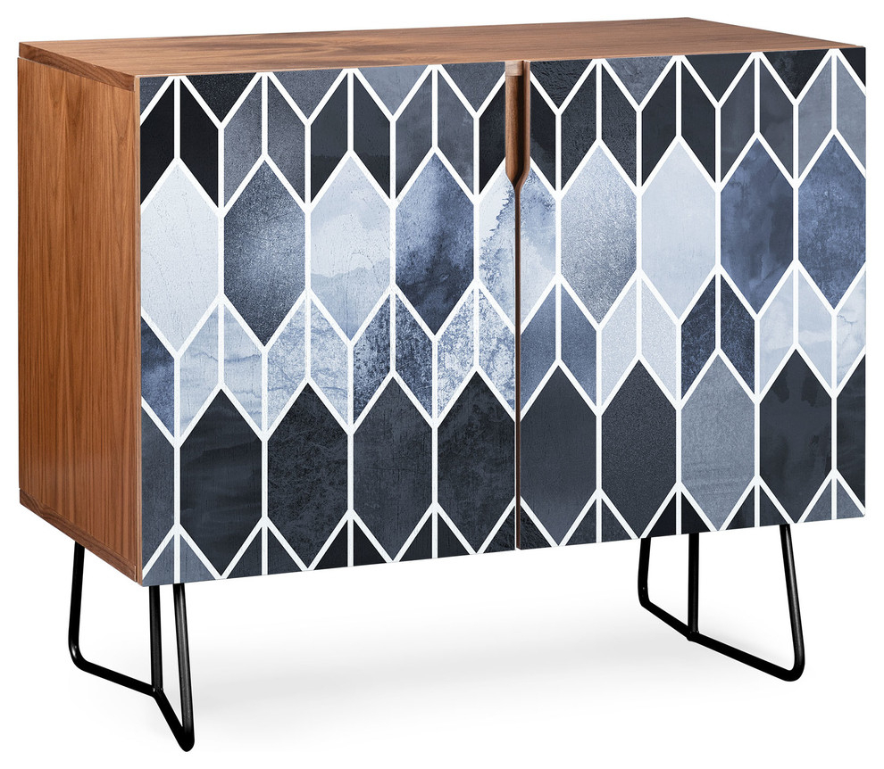 Deny Designs Blue Stained Glass Credenza, Walnut, Black Steel Legs throughout Multi Stripe Credenzas (Image 7 of 30)