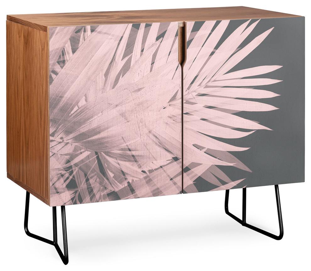 Deny Designs Blush Palm Leaves Credenza, Walnut, Black Steel Legs Inside Blush Deco Credenzas (Photo 10 of 30)