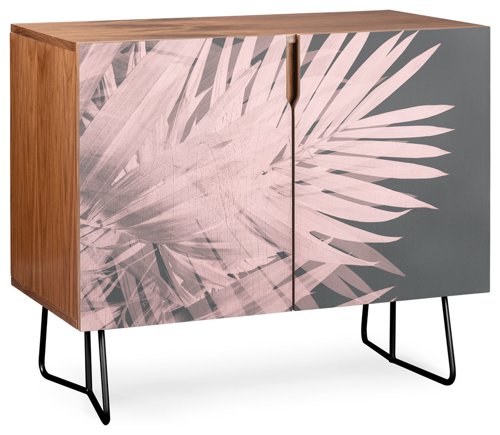 Deny Designs Blush Palm Leaves Credenza, Walnut, Black Steel Legs Inside Floral Blush Yellow Credenzas (Photo 6 of 30)