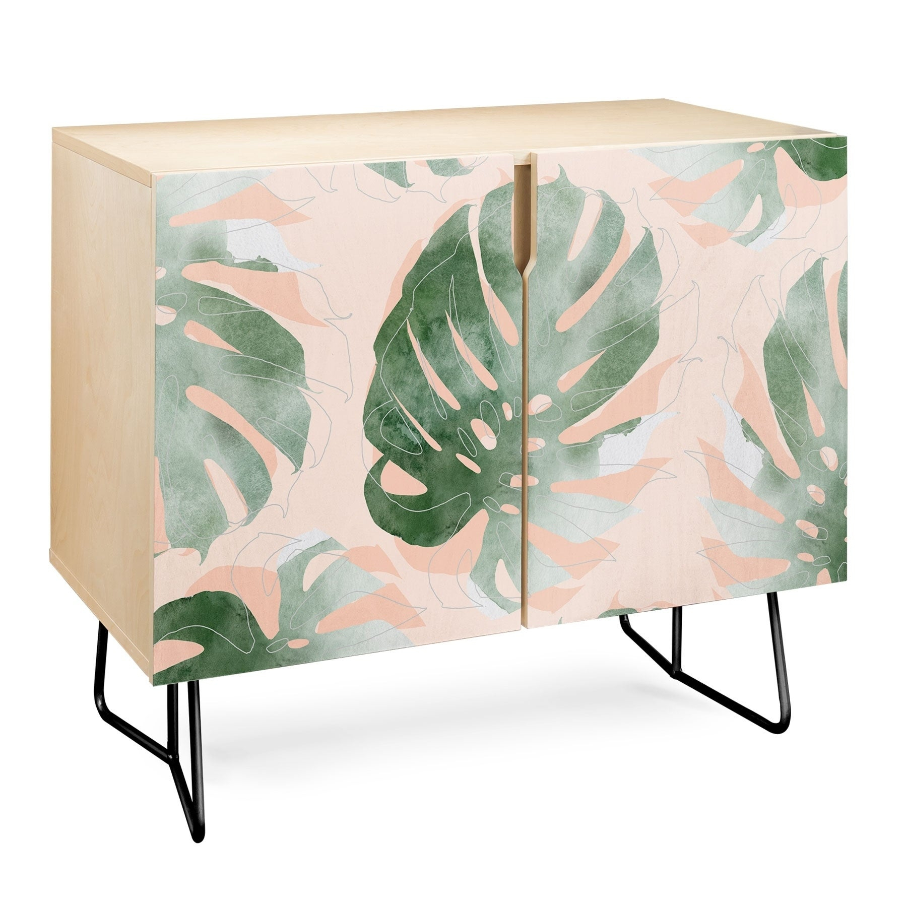 Deny Designs Bohemian Monstera Credenza (Birch Or Walnut, 2 Leg Options) Throughout Oenomel Credenzas (Gallery 26 of 30)