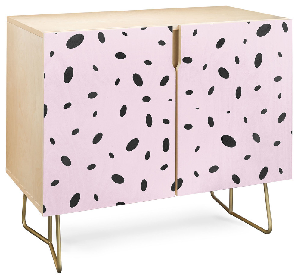 Deny Designs Bubble Pattern On Pink Credenza, Birch, Gold Steel Legs For Pink And Navy Peaks Credenzas (Gallery 13 of 30)
