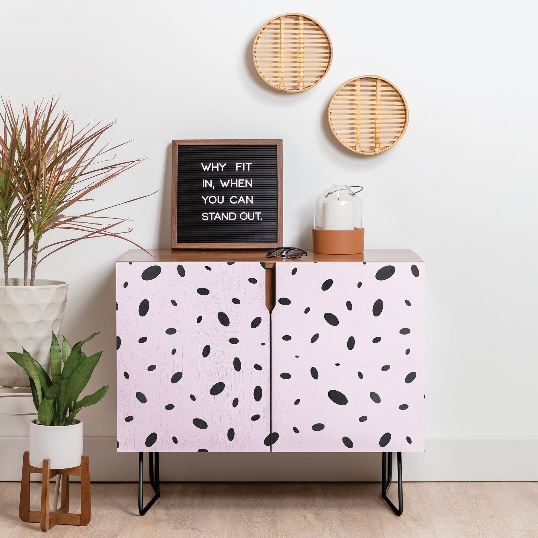 Deny Designs Bubble Pattern On Pink Credenza (Birch Or Walnut, 2 Leg Options) In Southwest Pink Credenzas (Gallery 1 of 30)