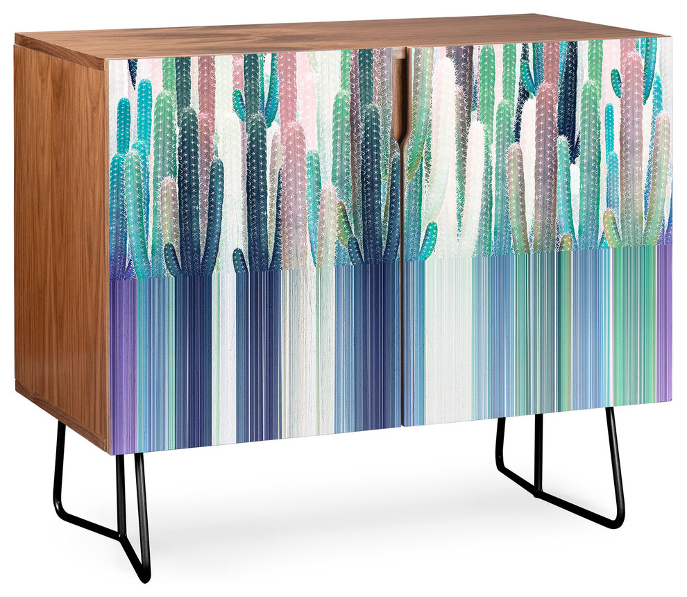 Deny Designs Cacti Stripe Pastel Credenza, Walnut, Black Steel Legs With Bluetrellis Credenzas (Photo 25 of 30)