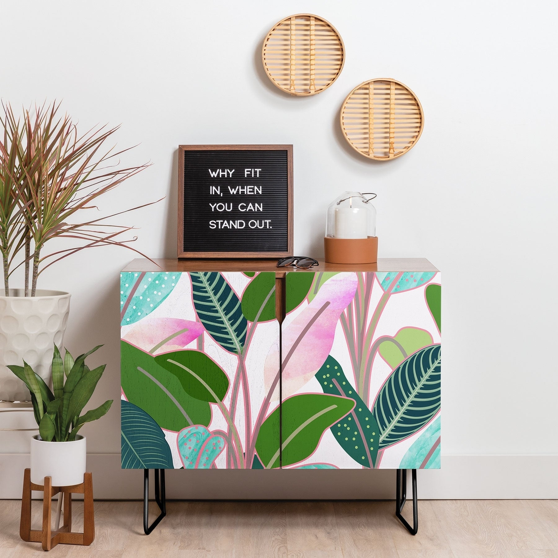 Deny Designs Colorful Leaves Credenza (Birch Or Walnut, 2 Leg Options) In Colorful Leaves Credenzas (Photo 1 of 30)