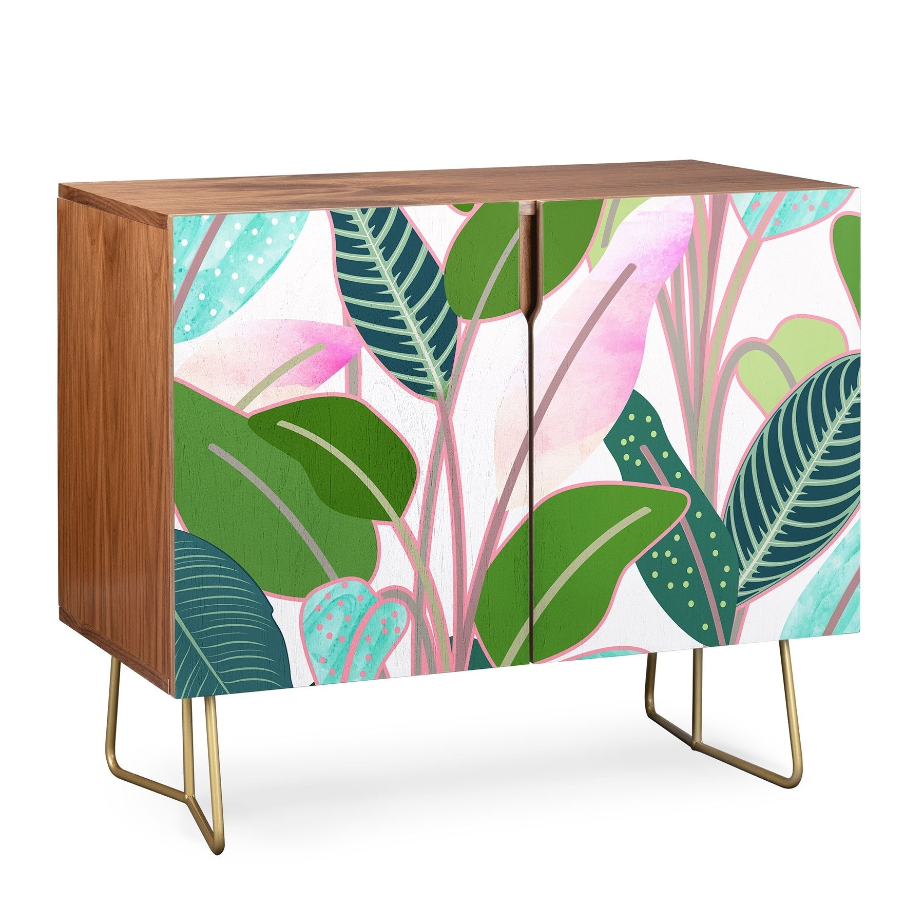 Deny Designs Colorful Leaves Credenza (Birch Or Walnut, 2 Leg Options) Intended For Colorful Leaves Credenzas (Photo 2 of 30)