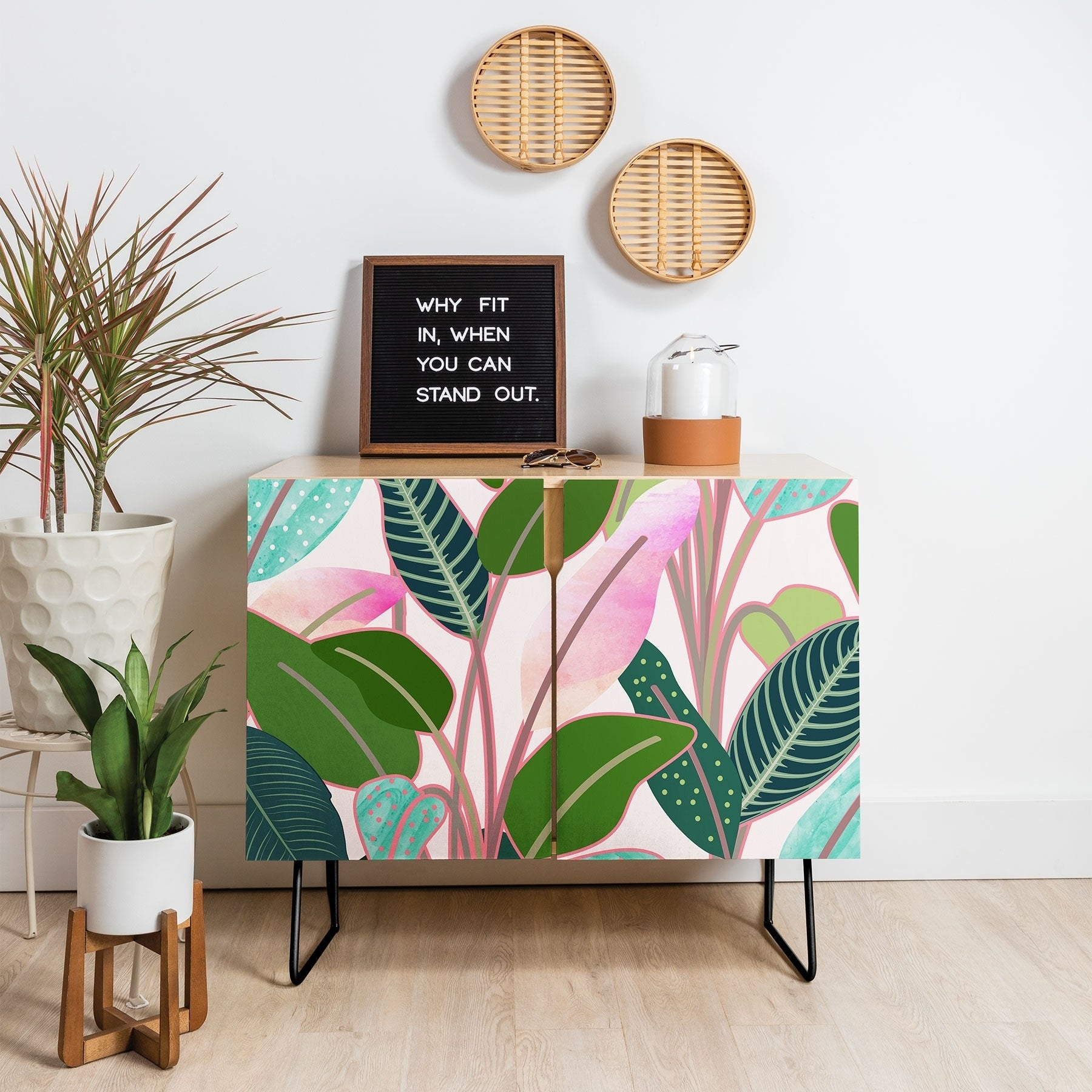 Deny Designs Colorful Leaves Credenza (Birch Or Walnut, 2 Leg Options) Throughout Colorful Leaves Credenzas (Photo 3 of 30)