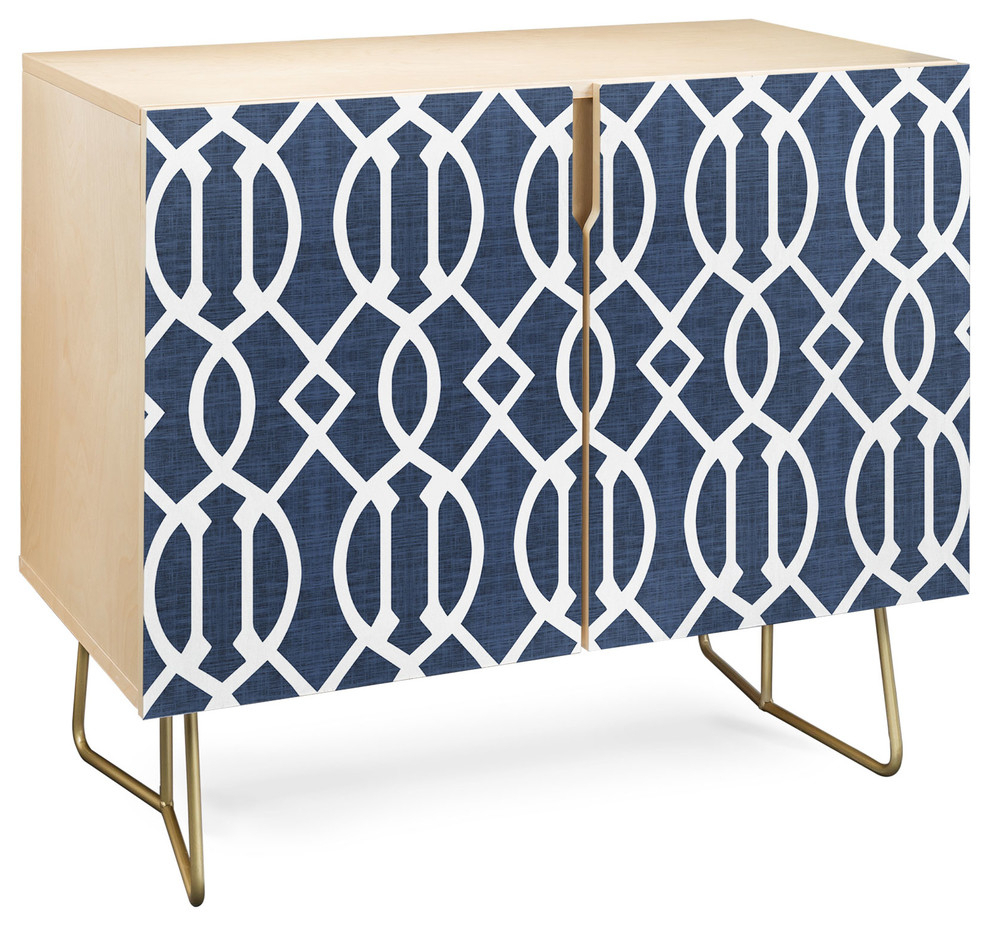 Deny Designs Dark Blue Trellis Credenza, Birch, Gold Steel Legs In Blue Hexagons And Diamonds Credenzas (Gallery 5 of 30)