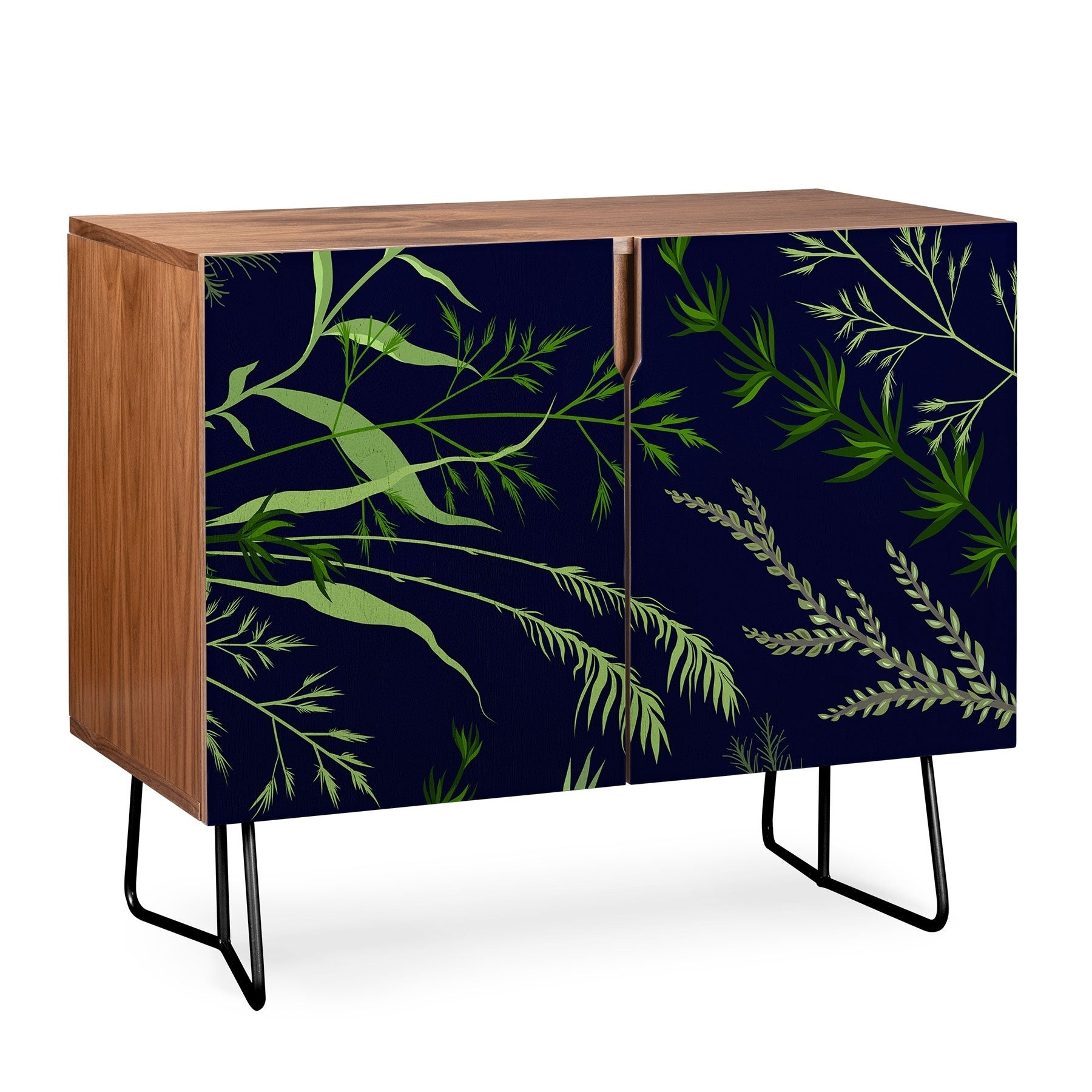 Deny Designs Deep Blue Fern Credenza (Birch Or Walnut, 2 Leg Options) Inside Deep Blue Fern Credenzas (View 7 of 30)