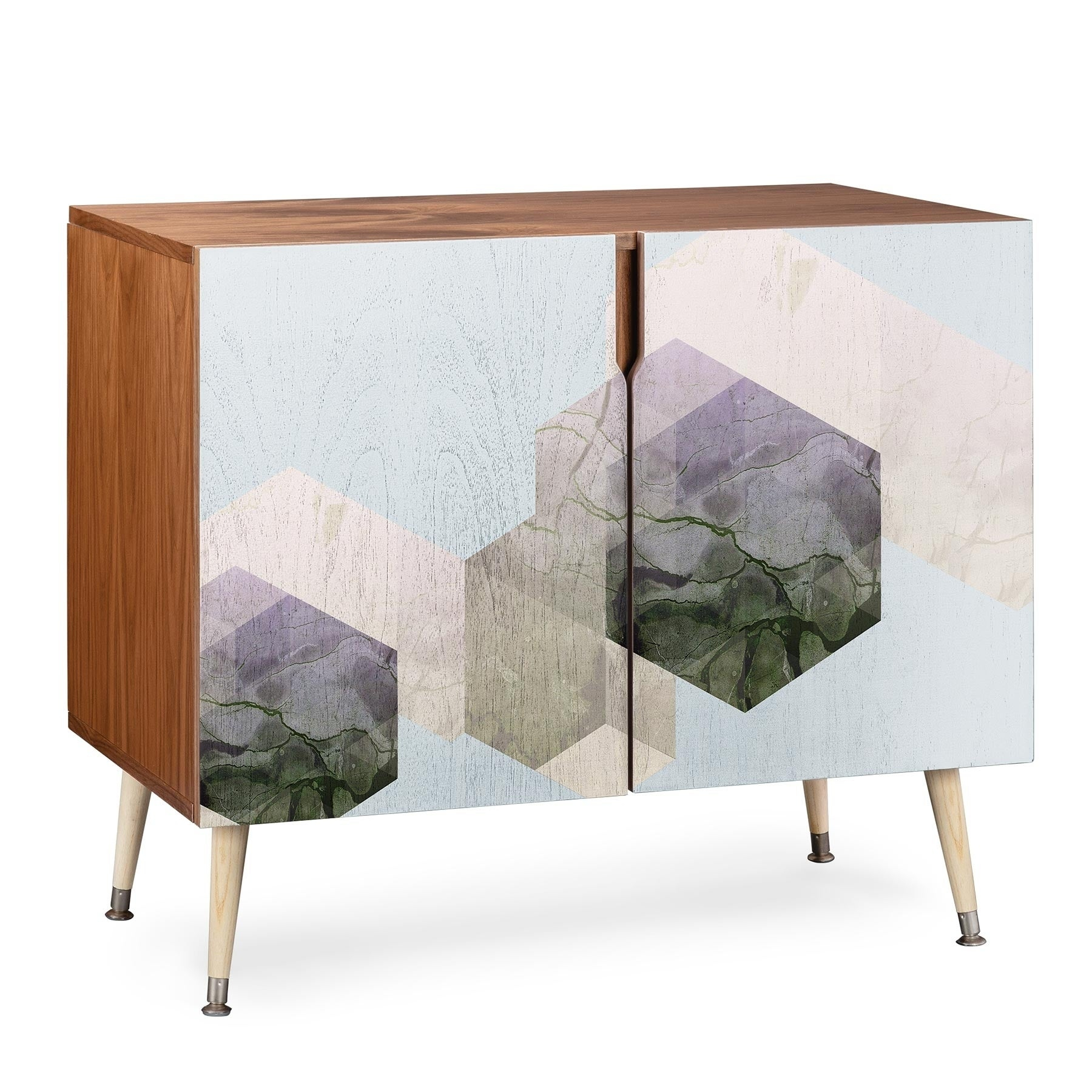 Deny Designs Emanuela Wood Geometric Patterned Credenza Pertaining To Wooden Deconstruction Credenzas (Gallery 2 of 30)