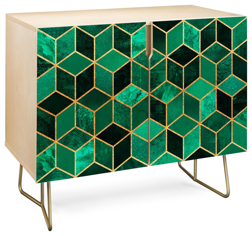 Deny Designs Emerald Cubes Credenza, Birch, Gold Steel Legs With Strokes And Waves Credenzas (Photo 7 of 30)