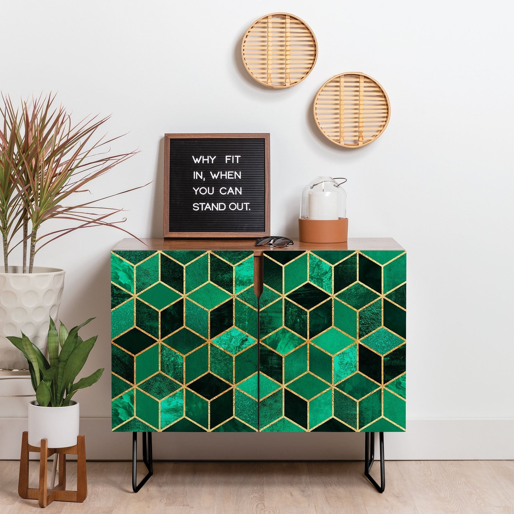 Deny Designs Emerald Cubes Credenza (Birch Or Walnut, 2 Leg Options) Throughout Emerald Cubes Credenzas (Gallery 1 of 30)