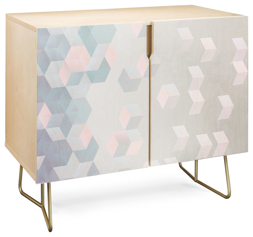 Deny Designs Exagonal Geometry Credenza, Birch, Gold Steel Legs Pertaining To Botanical Harmony Credenzas (Gallery 7 of 30)