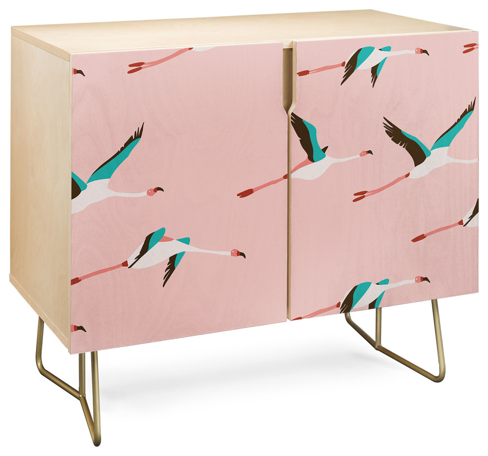 Deny Designs Flamingo Pink Credenza, Birch, Gold Steel Legs With Pink And Navy Peaks Credenzas (Gallery 6 of 30)