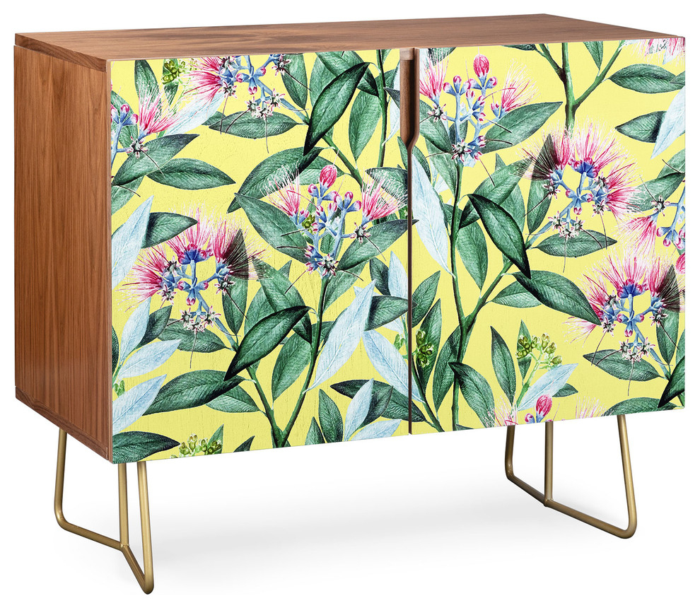 Deny Designs Floral Cure Two Credenza, Walnut, Gold Steel Legs Throughout Floral Blush Yellow Credenzas (Photo 3 of 30)
