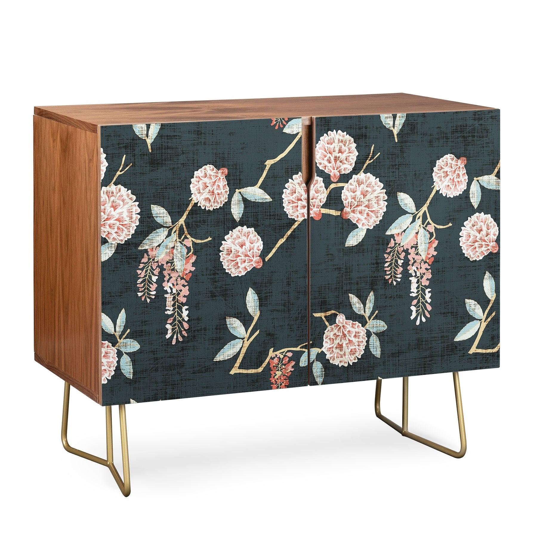 Deny Designs Floralista Credenza (Birch Or Walnut, 2 Leg Options) Within Oenomel Credenzas (Gallery 19 of 30)