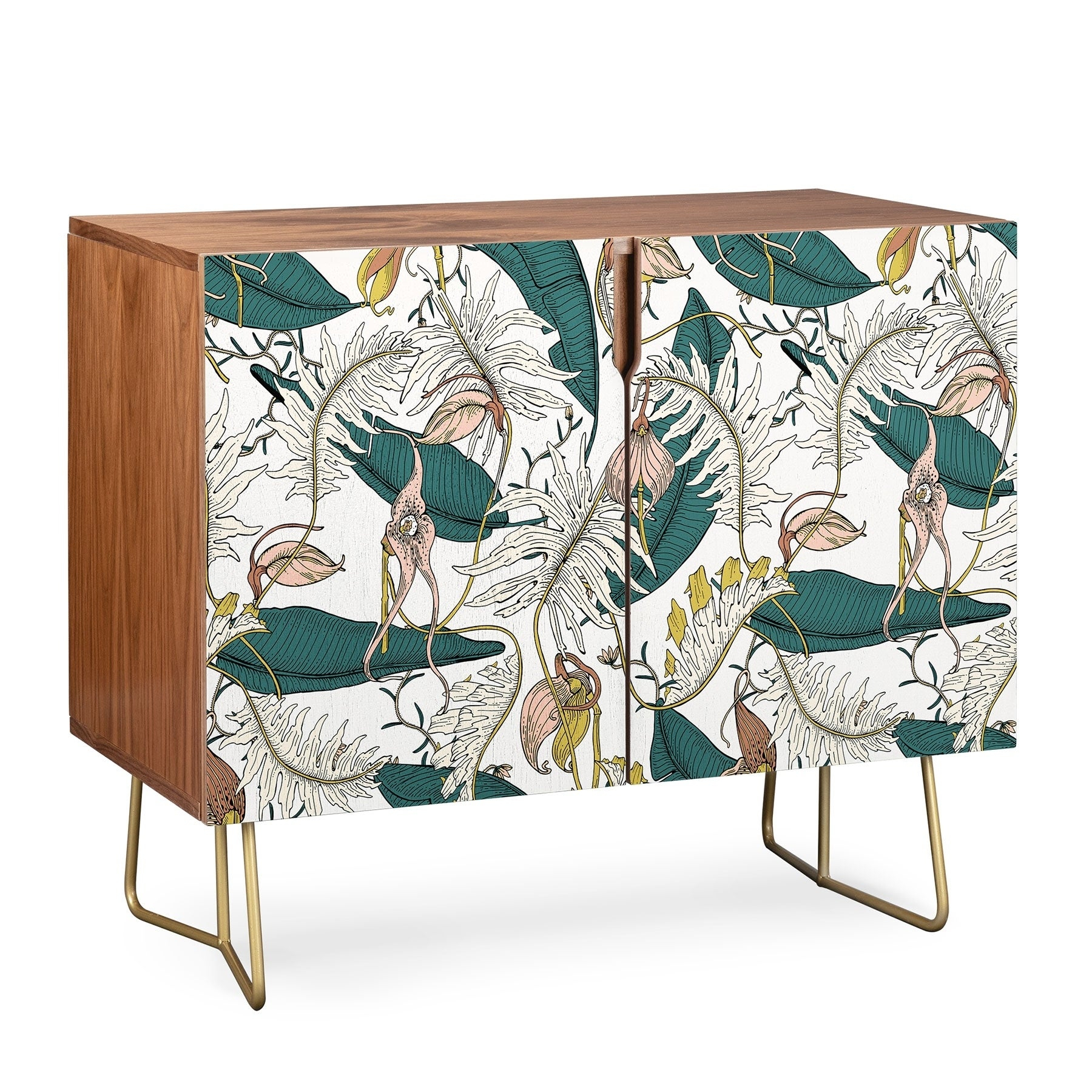 Deny Designs Garden Amora Multicolor Wood Credenza Inside Fleurette Night Credenzas (Gallery 18 of 30)