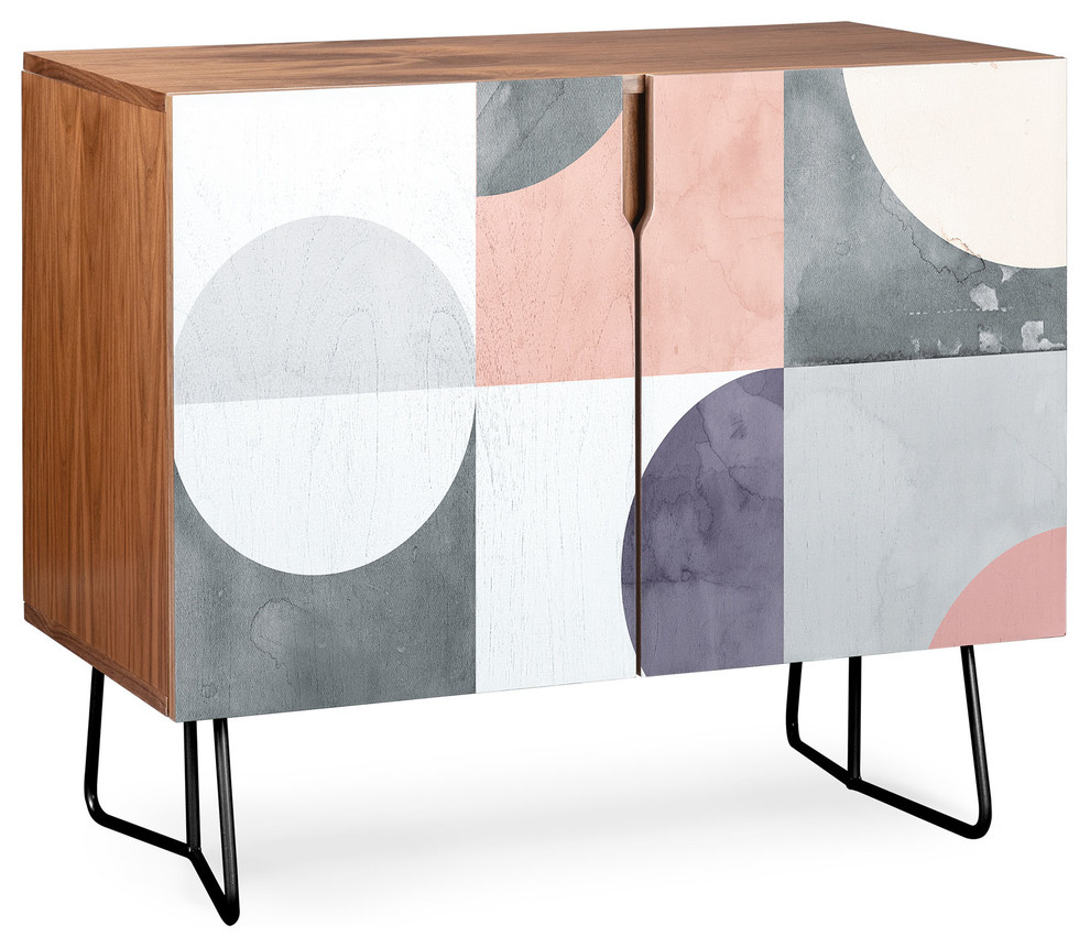 Deny Designs Geometric Moontime Credenza, Walnut, Black Steel Legs Inside Botanical Harmony Credenzas (Gallery 9 of 30)