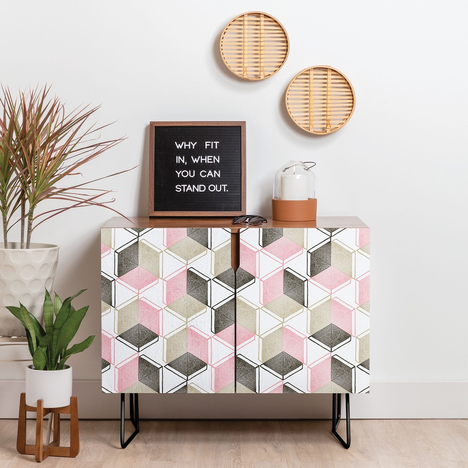 Deny Designs Geometric Shapes Credenza (Birch Or Walnut, 2 Leg Options) Intended For Geometric Shapes Credenzas (Gallery 2 of 30)