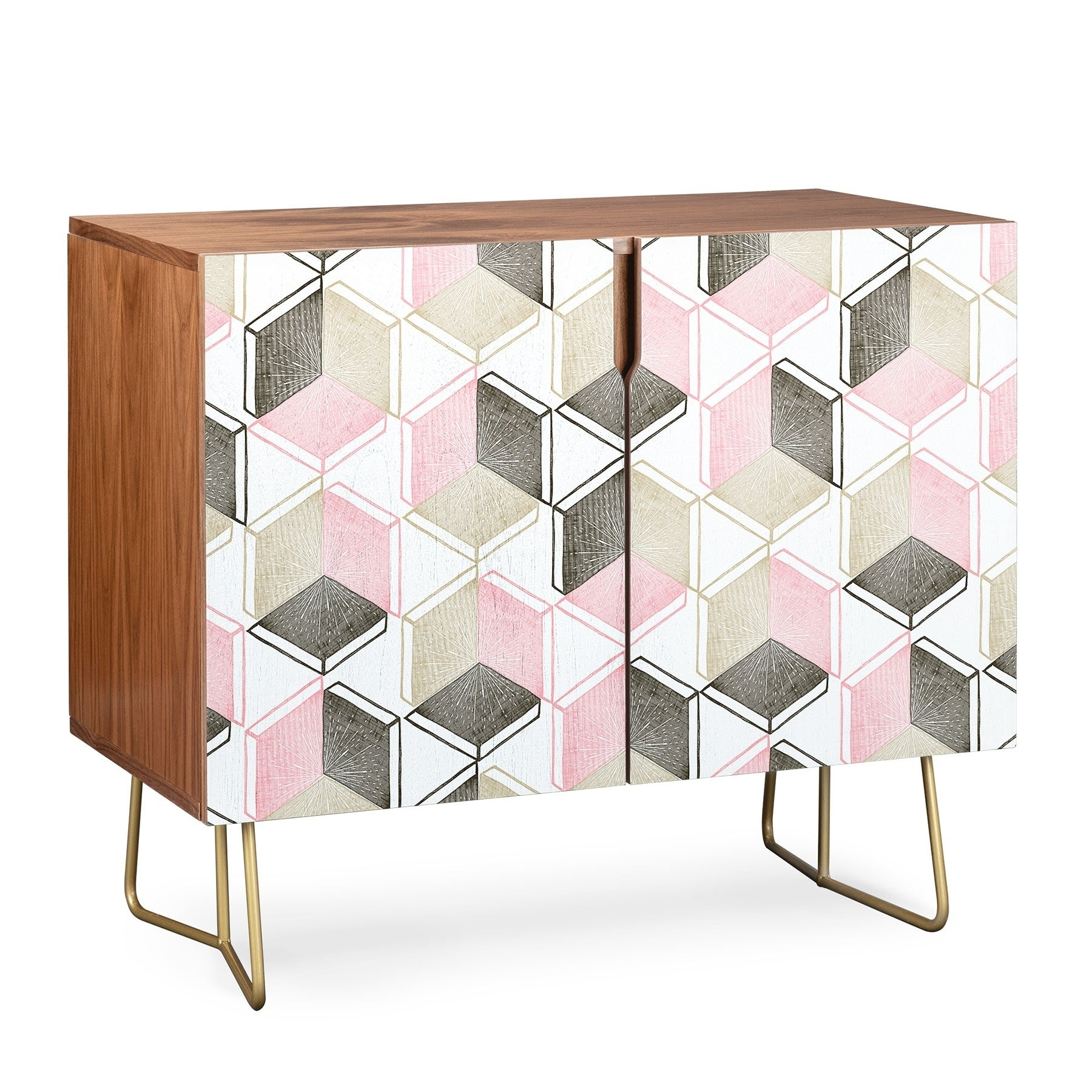 Deny Designs Geometric Shapes Credenza (Birch Or Walnut, 2 Leg Options) Within Geometric Shapes Credenzas (Gallery 5 of 30)
