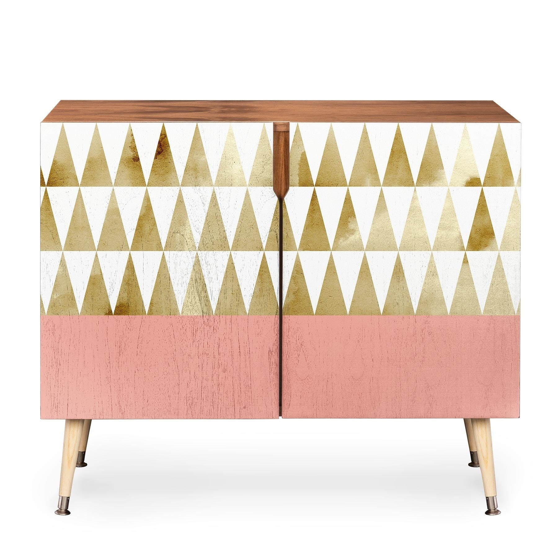 Deny Designs Georgiana Paraschiv 'gold Triangles' Credenza Pertaining To Bluetrellis Credenzas (Gallery 12 of 30)