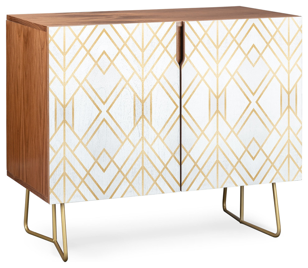 Deny Designs Golden Geo Credenza, Walnut, Gold Steel Legs Pertaining To Elephant Damask Paloma Credenzas (Gallery 5 of 30)