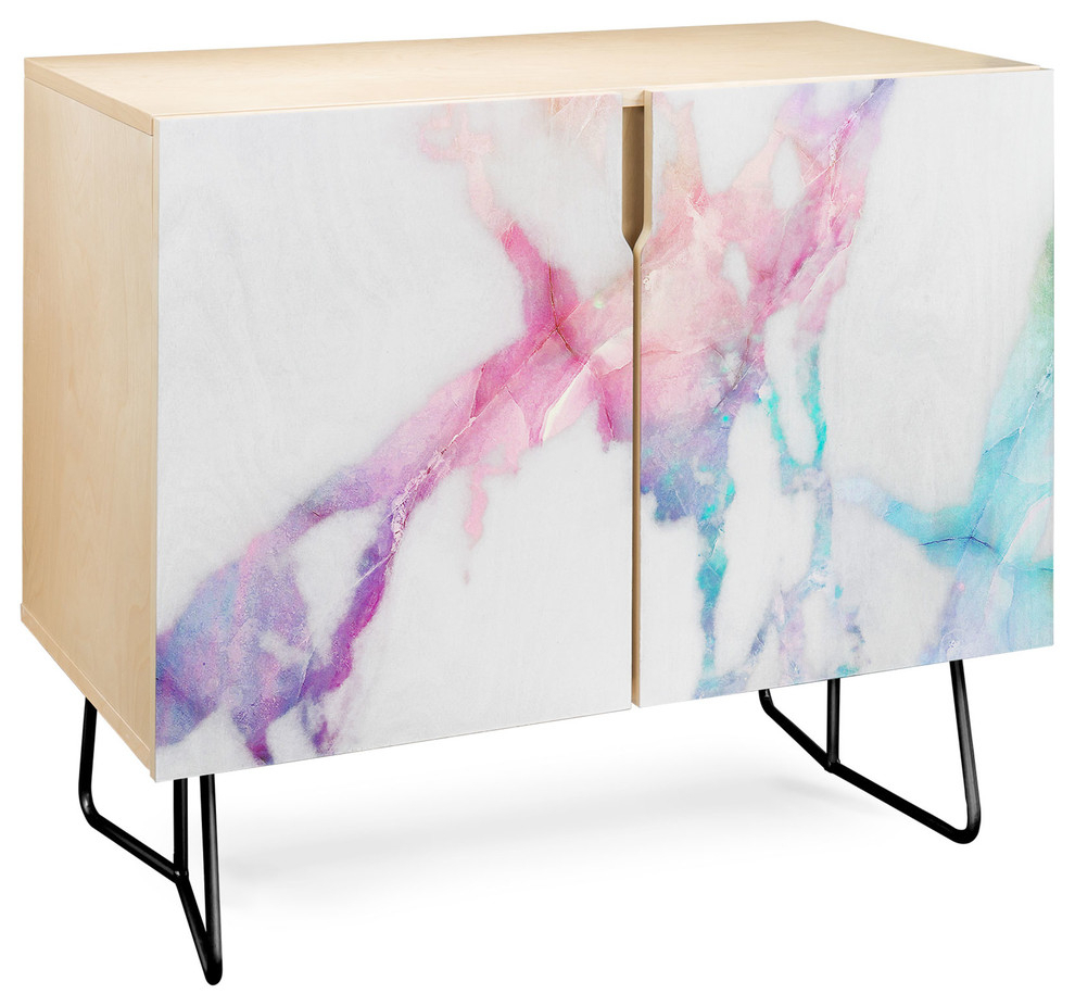 Deny Designs Iridescent Vein Marble Credenza, Birch, Black Steel Legs For Ocean Marble Credenzas (View 2 of 30)