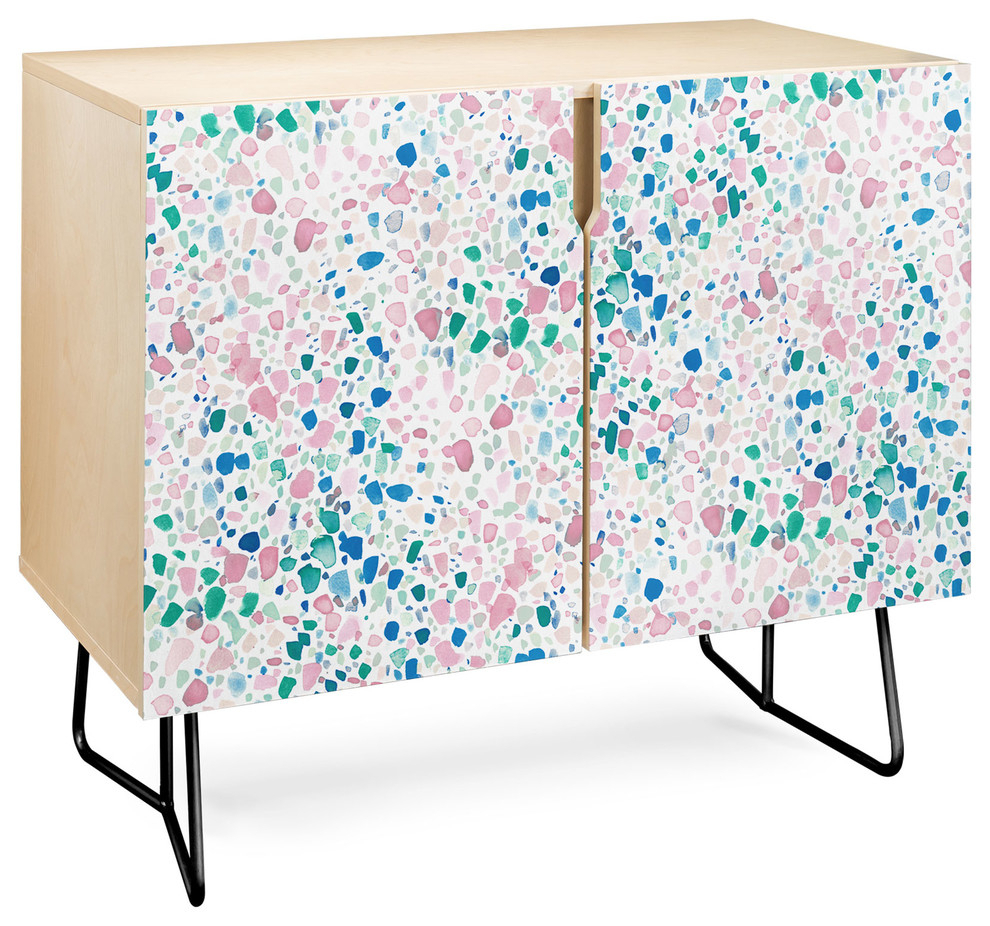 Deny Designs Magic Terrazzo Pink Credenza, Birch, Black Steel Legs Within Pink And Navy Peaks Credenzas (Photo 11 of 30)
