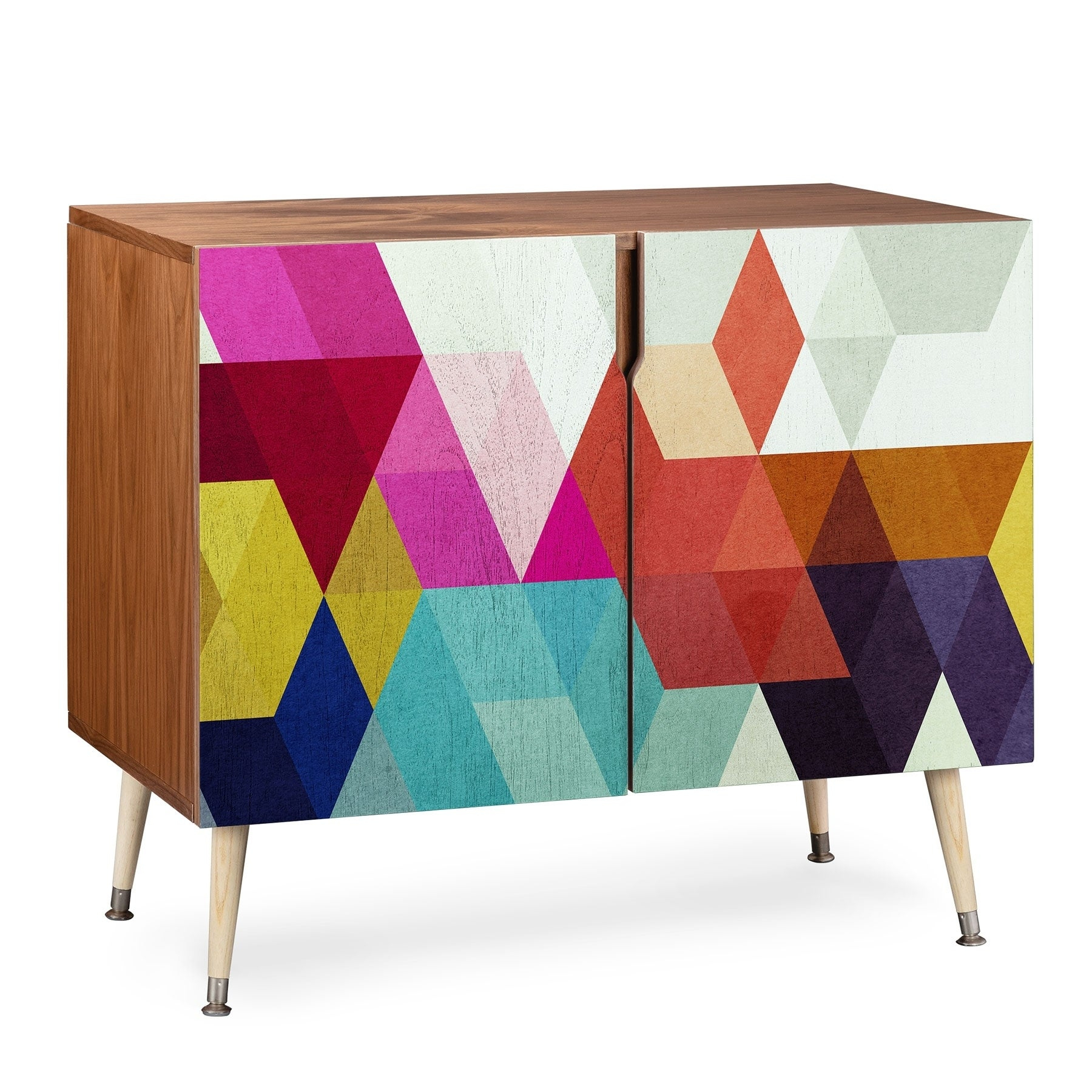 Deny Designs Modele 7 Geometric Credenza (Birch Or Walnut, 3 Leg Options) Intended For Multi Colored Geometric Shapes Credenzas (Photo 14 of 30)